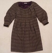 BADGLEY MISCHKA DRESS 100% Wool Brown Fully Lined Size US 8 Womens Career Wear