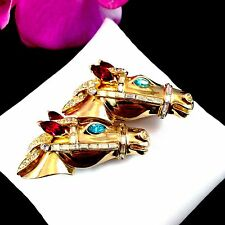 1940'S COROCRAFT GOLDTONE RHINESTONE RACING HORSES HEAD DUETTE BROOCH DRESS CLIP