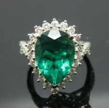 luxurious Natural Green Emerald Engagement VS Diamond Ring Solid 18K White Gold