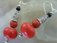 Rote Türkis Linsen Ohrringe Ohrhänger Earrings m.rote Koralle & Achat 925 Silber