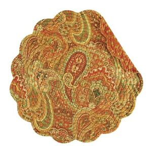 Set of 2 C&F TANGIERS Paisley Floral Quilted Cotton Round Placemats