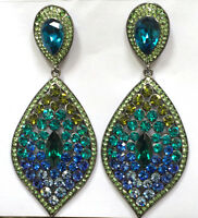 Butler and Wilson Blues Greens Pointed Oval Drop Earrings NEW