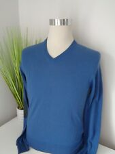 BNWT Hackett Blue Cotton Cashmere Fine Knit V Neck Jumper  size XS