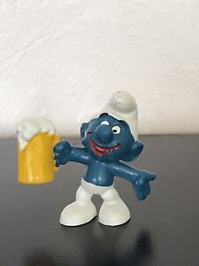 Smurfs Beer Smurf 20078 Brew Mug Classic 1975 Vintage Figure Peyo PVC Figurine