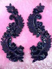 0180 Black AB Aurora Borealis Mirror Pair Sequin Beaded Appliques 8""