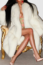 MARVELOUS WHITE POLAR BLUE REAL SAGA FOX FUR COAT LONG JACKET ABSOLUTE DELUXE!