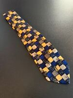 "euc Manzoni Blue Yellow Geometric Men's Silk Tie Made In Italy 60"" 3.75"""