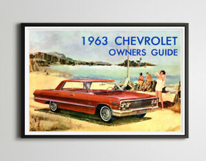 """Vintage 1963 Chevrolet Impala Beach POSTER! (up to 24"""" x 36"""") - Classic Cars"""