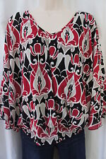 Style & co Petite Blouse Sz PL Black Lamp Berry Mutli Color Le Marais Casual Top