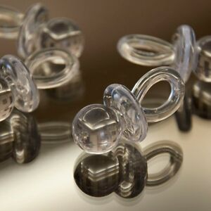 """8 Clear White Pacifiers 1 3/4"""" Plastic Favors Binky Baby Shower Game Favors USA"""