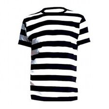 ADULT MEME FANCY DRESS PIRATE T SHIRT BLACK WHITE STRIPED MIME CONVICT GRANNY