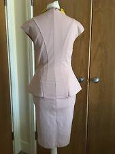 Ted Baker Office Smart Pink Peplum Fited Dress Sz 0 , 6
