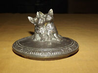 VINTAGE  2 DOGS  SILVERPLATE 672 JAR BOWL CANDLE LID