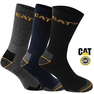 Mens Boys CAT Long Caterpillar Crew Work Socks 3, 6, 9 Packs Sizes 6-11 & 11-14