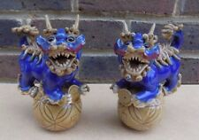 2 Ceramic Chinese Foo Dog Lion Figures