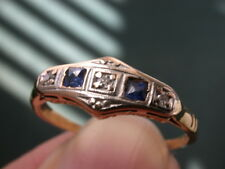 ANTIQUE ART DECO 18K GOLD PLATINUM 3GENUINE DIAMOND SAPPHIRES RING nr comb shipp