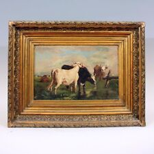 L. Martin (1880) ◊ Vaches au pâturage ◊ Peinture à l'huile sur toile signée daté