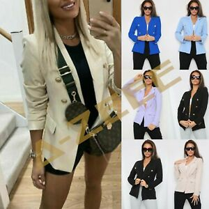 Ladies Women's Gold Button Office Military Style Double Breasted Blazer Jacket