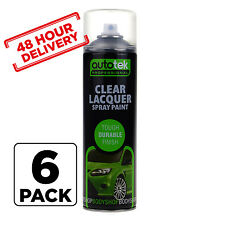 6 x AUTOTEK Clear Laquer Spray Acrylic Top Coat for Plastic Steel Metal 500m
