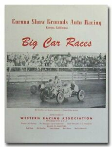 1950 Corona Show Grounds Big Car Racing vintage reproduction poster print 50's