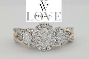 Vera Wang Love 14K 1 ct Oval Three 3-Stone Diamond Halo Engagement Ring $3,339