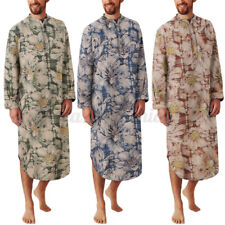 PJ Mens Long Sleeve Floral Nightshirt Bathrobe Dressing Gown Nightwear Loungwear