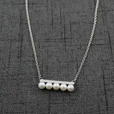 Women 925 Sterling Silver Freshwater Mother Pearls Bar Pendant Chain Necklace