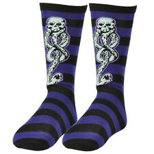 Harry Potter Dark Mark Voldemort Death Black Purple Striped Long Socks Size 6-12