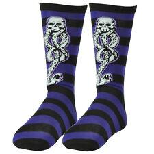 Harry Potter Dark Mark Voldemort Death Black Purple Striped Long Socks Size 6-12