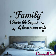 Wall Decal Family Where Life Begins & Love Never Ends Quote Home Letterin M1599