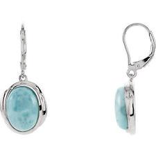 Oval Larimar Gemstone Lever Back Earrings Sterling Silver 6.70ct