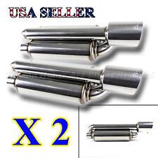 2X USA TWIN CANISTER STYLE DEEP TONE SPORT RACE CHROME EXHAUST MUFFLER+SLANT TIP