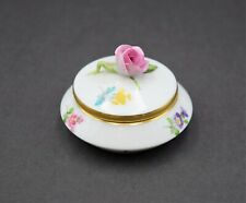 Rare! + Herend Hungary Porcelain Hand Painted Round Trinket Box With Florals +