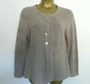 Country Casuals CC Beige 80% Wool Swing Cardigan Size XL Boucle Tweed