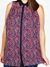 womens Plus size 16 navy and burgundy paisley sleeveless shirt top blouse