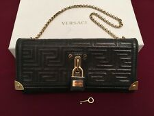 GIANNI VERSACE COUTURE LEATHER QUILT MINI HANDBAG WALLET BLACK ITALY NEW AUTH