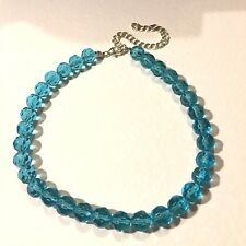 """CHUNKY FACETED TURQUOISE BLUE GLASS BEAD CHOKER NECKLACE 13-17"""" 33-43cm 10mm"""