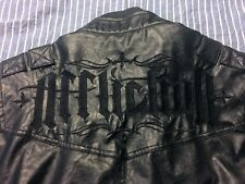 AFFLICTION BLACK PREMIUM Men's Motorcycle PU Leather Jacket Biker Sz M Live Fast