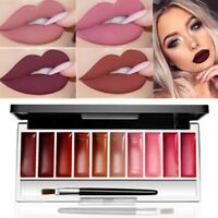 10Color Matte Lip Gloss Palette Long Lasting Waterproof Lipstick Makeup Cosmetic