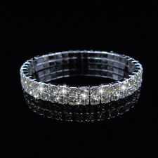Wholesale 20Pcs Stretch Rhinestone Crystal Bracelet Silver P 2Row CZ Inlay Gifts