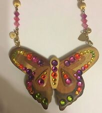 Tarina Tarantino Brown Wood BUTTERFLY W/ Crystals Gold NECKLACE $169
