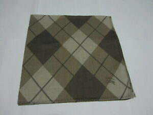 """USED BROWN PLAID PATTERN COTTON 19"""" POCKET SQUARE HANDKERCHIEF HANKY FOR MEN #1"""