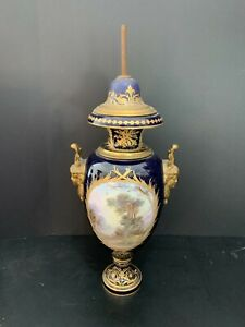 """Sevres France 19"""" Cobalt Gilt Urn Vase with Painted Scenes and Face Handles"""