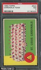 1963 Topps #524 St. Louis Cardinals Team PSA 7 NM