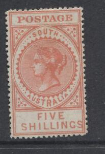 SOUTH AUSTRALIA - 1906/12 PERF.12½ 5/- BRIGHT ROSE MINT (MH) SG.305 (REF.A4A)