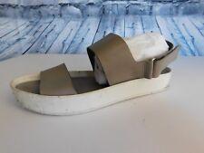 Vince. Gray White Marrett Leather Flatform Platform Flat Sandals - Size 7 37.5