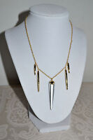 NWT $145 ALEXIS BITTAR Silver Lucite Sport Deco Spear Golden Necklace Crystals