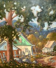 "ORIGINAL 30"" X 36"" 1996 Quebec Oil Painting Gilles Bédard i.a.f House under tree"
