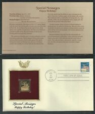 # 2272 SPECIAL OCCASIONS: HAPPY BIRTHDAY!  1987 Gold Foil First Day Cover