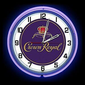 "19"" Crown Royal Whisky Logo Sign Purple Double Neon Clock Man Cave Bar Garage"